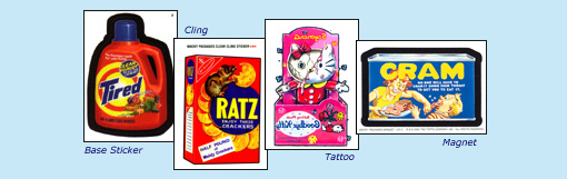 ANS1 base sticker 'Tired', 'Ratz' cling, 'Goodbye Kitty' tattoo, 'Cram' magnet